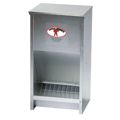 Poultry Feeder, 25 Lb Capacity, Wall Mounted, Galvanized