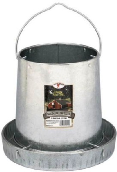 Poultry Hanging Feeder, Galvanized, 12 Lb Capacity