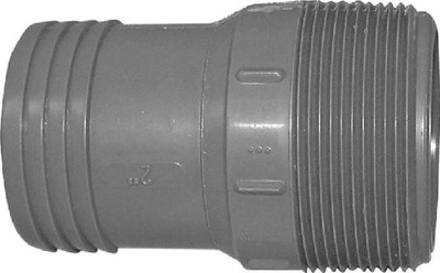 "Barbed Tube Fittings, 2"", MPT Adapter, Polypropylene"
