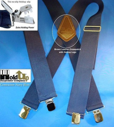 """Hold Up Contractor Series, 2"""" Wide, NAVY BLUE, Silver Clips"""