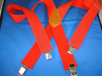 """Hold Up Contractor Series, 2"""" Wide, LOGGER RED, Silver Clips"""