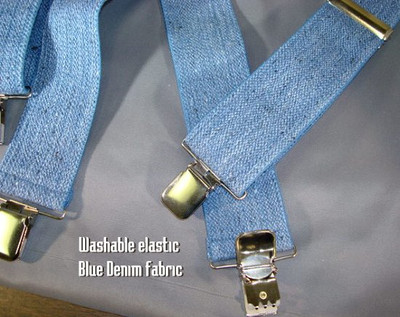 """Hold Up Contractor Series, 2"""" Wide, BLUE JEANS, Silver Clip"""