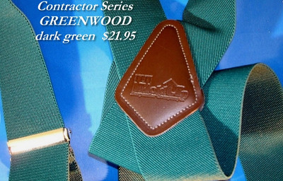 """Hold Up Contractor Series, 2"""" Wide, GREENWOOD, Silver Clips"""