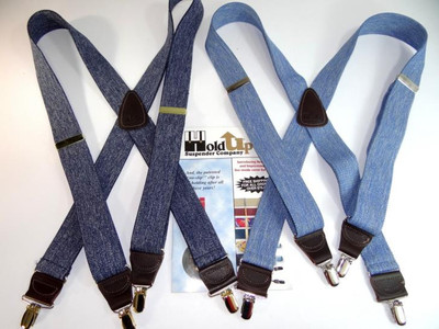 """Hold Up Casual Series, 1-1/2"""" Wide, LIGHT BLUE DENIM, Silver Clips"""