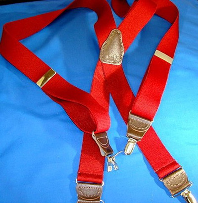 """Hold Up Casual Series, 1-1/2"""" Wide, FIRE ENGINE RED, Gold Clips"""