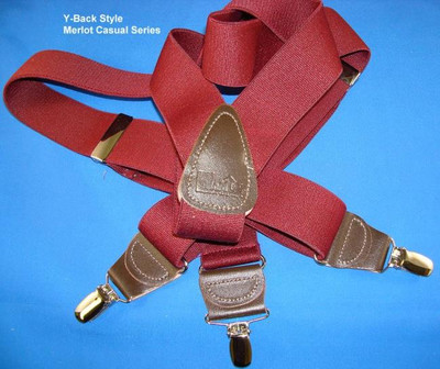 """Hold Up Casual Series, 1-1/2"""" Wide, MERLOT, Silver Clips"""