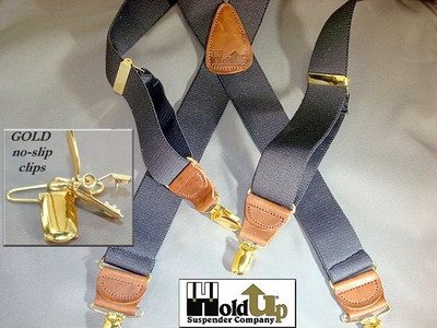 "Hold Up Casual Series, 1-1/2"" Wide, SLATE, Gold Clips"