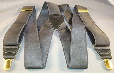 """Hold Up Formal Wear Series, 1"""" Wide, PEWTER GRAY, Silver Clips"""