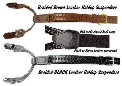 """Hold Up Braided Leather Black Suspenders """"Y"""" Back"""