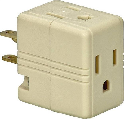 Cooper, 3 Way Outlet Adapter With Ground, Ivory