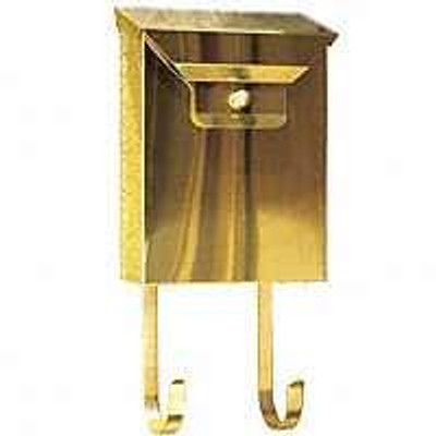 Mailbox, Wall Mount, Brass, Vertical With Newspaper Rack