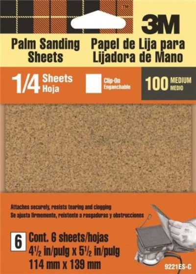 "Palm Sander Sandpaper, 100 Grit Medium, 6 Pack, 4-1/2"" x 5-1/2"""