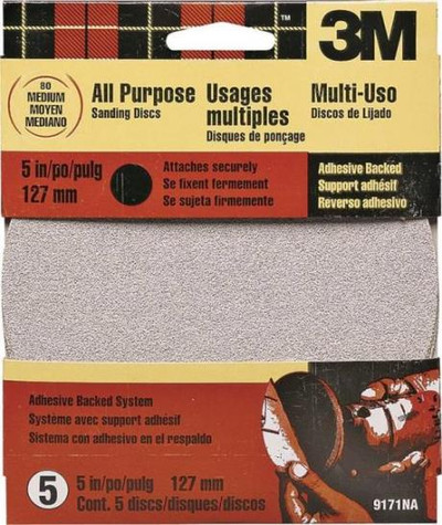 """3M, 5"""" Adhesive Backed Sanding Disc,  80 Grit, 5 Pack"""