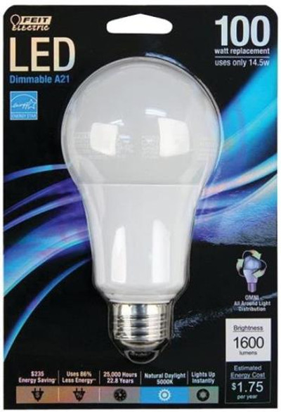 LED, A21, 1,600 Lumens, 17 Watts, Dimmable
