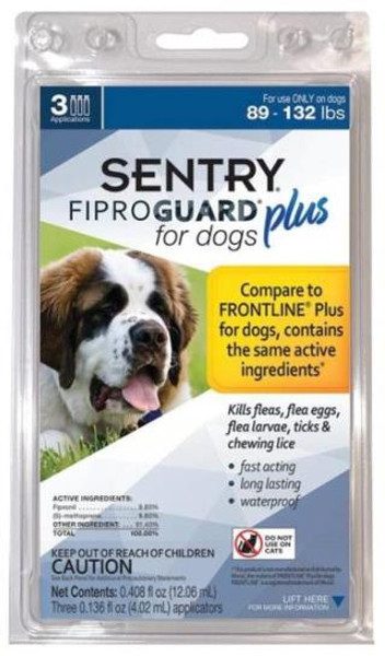 Sentry, Flea & Tick, Squeeze-On, 89-132 Lb Dogs, 3 Tubes