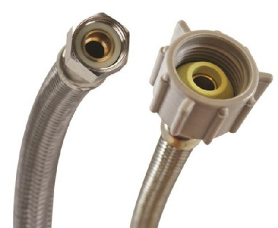 """SS, Toilet Supply Line, 3/8"""" Comp x 7/8"""" FPT, 12"""""""