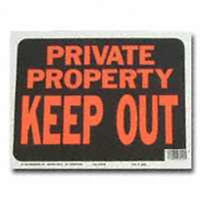 "Private Property, Keep Out Sign 12"" x 9"""