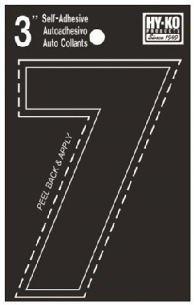 "Boat Number, ""7"", Die Cut, 3"" High"