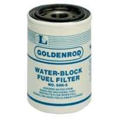 Fuel Filter, 596-5,  Water Block, Spin-On Replacement