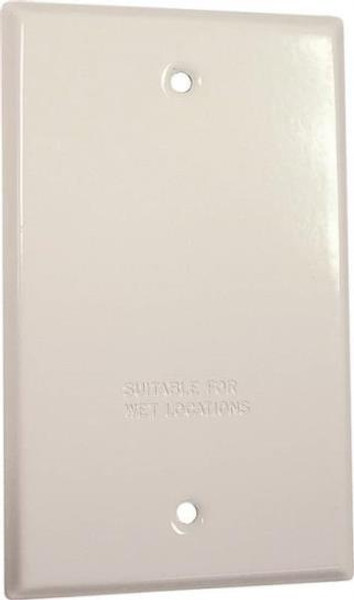 Weatherproof, 1 Gang, Blank Cover Plate, White