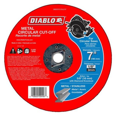 "Metal Cut-Off Wheel, 7"" x 1/8"", 5/8"" Arbor, Diablo"