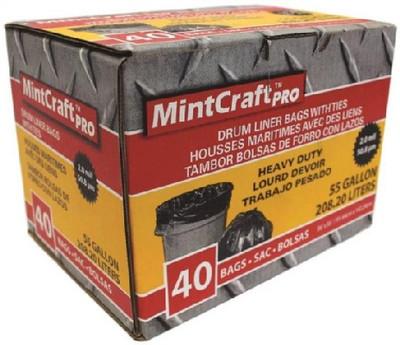 Trash Bag, 55 Gallon, 2 Mil, Black, 40 Pack