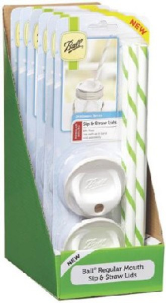 Ball, Regular Mouth Sip And Straw Canning Lid, 4 Pack, White/Green