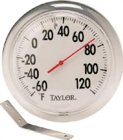 """Thermometer, Outdoor, Round, -60 TO 120 Deg F, 6 """" Dia"""
