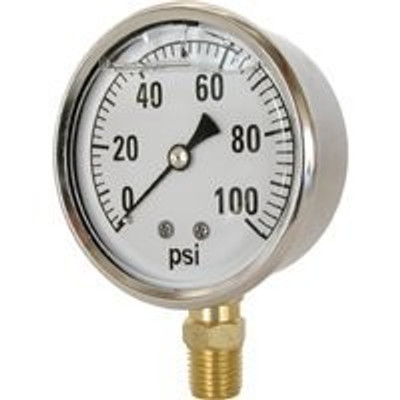 "Pressure Gauge 2-1/2"" 0-100 PSI 1/4"" MPT"