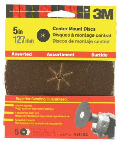 "3M, 5"" Center Hole Sanding Disc, Asstorted Grits, 5 Pack"