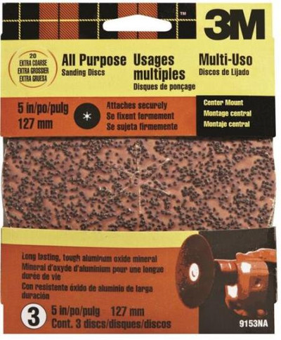 "3M, 5"" Center Hole Sanding Disc,  20 Grit, 5 Pack"