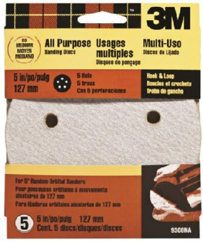 "3M, 5"" Hook & Loop Sanding Disc, 5 Holes, 80 Grit, 5 Pack"