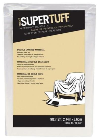 Drop Cloth, Paper W/Plastice Backing, 9' x 12'