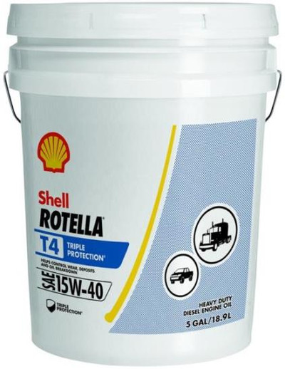Motor Oil, Rotella, 15W-40, 5 Gal, Heavy Duty Diesel Engine