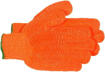 Gloves, Nylon Knit With PVC Ribbing, Large