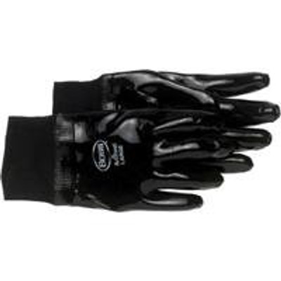 Gloves, Chemical Resistant,, Neoprene Coated, Large, Black