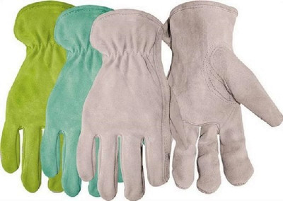 Gloves, Driver Gloves, Women's/One Size, Premium Split Leather, Gray/Blue/Green