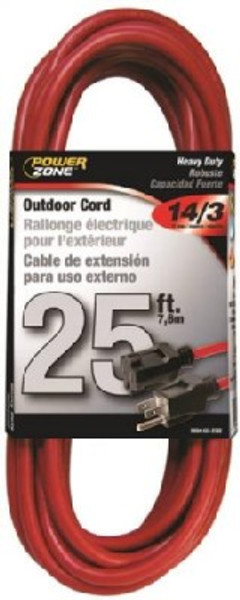 14/3, Electrical Extension Cord,   25', 13 Amp, 125 VAC, Orange