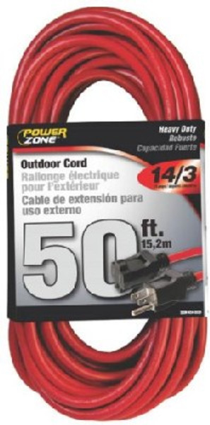 Extension Power Cord, 14/3 x 50', Grounded