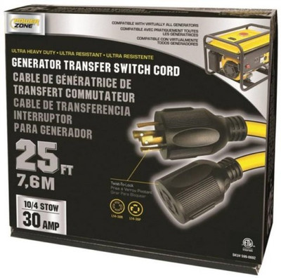 Generator Extension Power Cord, 10/4, 25 ft, 30 Amp