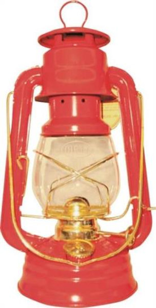 Hurricane Oil Lantern, No.76, Red With Brass Trim