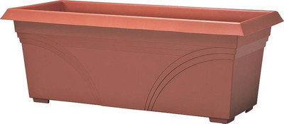 "Deck Planter, 27"", Plastic, Terra Cotta"