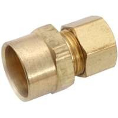 "Compression Fittings, 3/8"", Adapter x 5/8"" CX (1/2"" Tubing) , Brass"