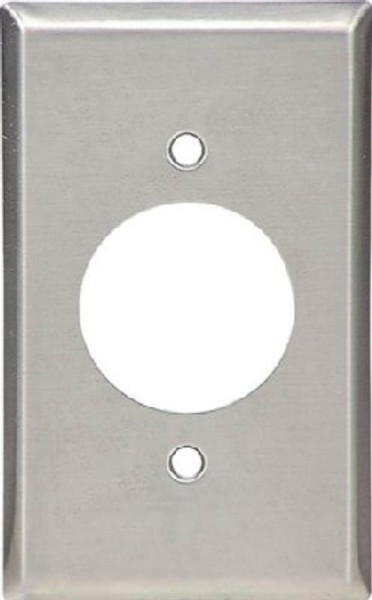 "Wall Plate, Stainless Steel With 1.594"" Hole"
