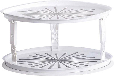 "Lazy Susan, Turntable, Double Decker, 10.5"", Whit Plastic"