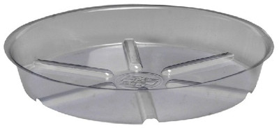Planter Saucer, 14 in Dia X 1-1/4 in H, Vinyl, Clear