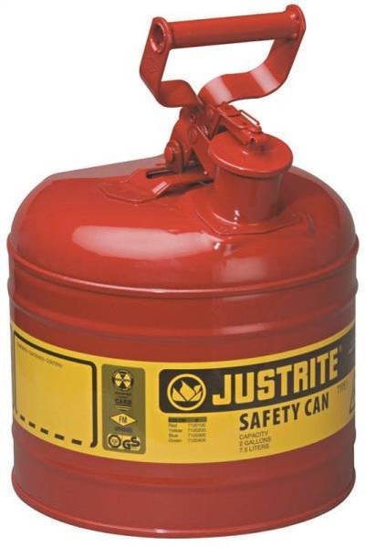 Gasoline Safety Can, Type 1, 2 Gallon, Self-Venting, Steel, Red
