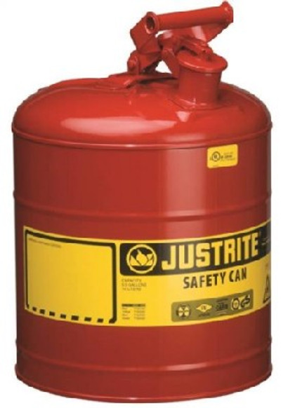 Gasoline Safety Can, Type 1, 5 Gallon, Self-Venting, Steel, Red
