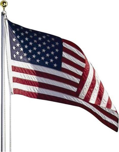 US Flag Kit, 3' x 5', Perma-Nylon, 20' Aluminum Pole