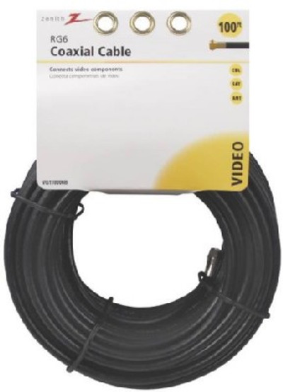 RG6 Coaxial Cable, 100', With Connectors, Black
